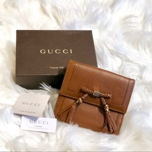 Gucci Calfskin and Bamboo Tassel Wallet Coin Purse